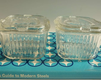 Pair 1940s Federal Glass Refrigerator Dishs Clear Glass with Vegetable Lid Pattern