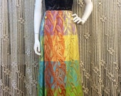 Incredible late 60s colorful brocade designer Malcolm Starr maxi skirt with gold metallic detail