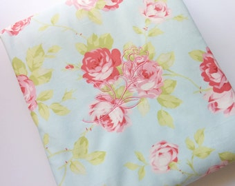 Crib Blanket, Lap Blanket, Cottage Chic Roses Cotton Print and Polar Fleece Quilted Lap Blanket/ Quilt/ Travel Blanket