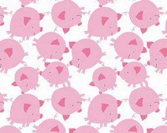 Get Together Pig Toss Pink   Soft Cotton Corduroy  by David Walker 1 Yard Cut
