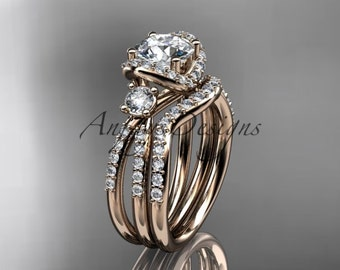 14kt rose gold diamond unique engagement set, wedding ring ADER146S