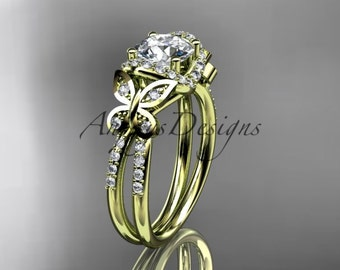 "14kt yellow gold diamond butterfly wedding ring, engagement ring with a ""Forever One"" Moissanite center stone ADLR141"