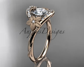 14kt rose gold diamond unique engagement ring, wedding ring ADLR166