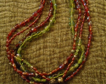 Boho Vintage Inspired Boho Necklace with Square Glass Pendant