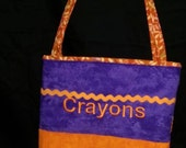 Purple and Orange Activity Bag with a Ton of Activities Included.  2 Long Carry Straps, Large Pockets, Batting, Super Soft, FUN!!