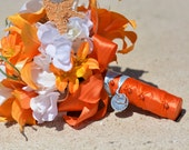Tiger Lily Wedding Bouquet - Destination Wedding Bouquet, Silk Flower Bridal Bouquet, Starfish Bouquet, Customized To Your Wedding Colors