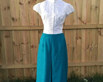Vintage 1960s Teal Tea-Length, Front Pleated Skirt - Leslie Fay Dresses