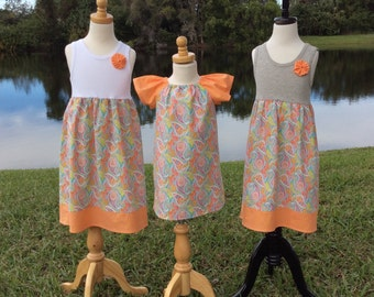 SISTER SET for SUMMER! girls tank style dress with coordinating flutter sleeve dress- choose white or gray tank.
