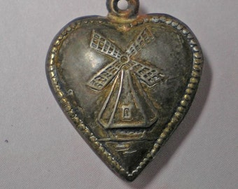 Vintage Puffy Heart Charm with Windmill  No Name  Item:15582