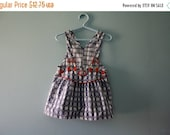 ON SALE Vintage Osh Kosh Nautical Denim Shortall Dress / red white & blue jumper / July 4th Overall Dress / Toddler girl 2T