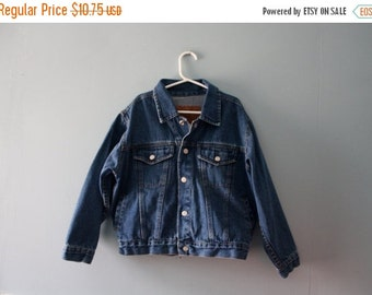 Boy's vintage faded dark wash blue denim jacket / Faded Glory Jeans Co. Snap up Jean Jacket / Size 7