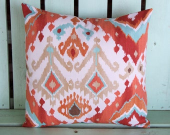 New 16x16 blue,rust,khaki Ikat print swavelle-mill creek pillow cover-accent pillow- decorative pillow cover-gifts under 40-throw pillow