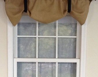 Burlap tieup  window valance in natural,ivory or grey green