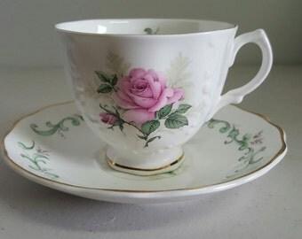 Crown Dorset Rose pattern Tea Cup & Saucer