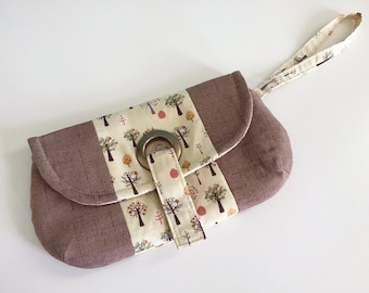 Wristlet Clutch Purse, Clutch Purse, Tree Fabric, Linen, Grommet Clutch, Wristlet Handbag