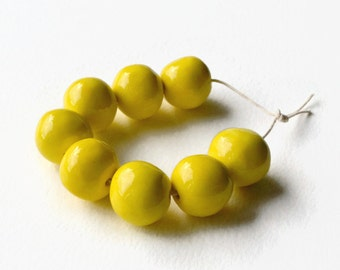 African beads, handmade African beads, large ceramic beads, 8 X-large handmade beads, yellow beads