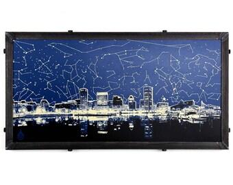 Star Map Skyline, Framed Silkscreen Print, Baltimore, MD