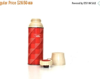 ON SALE Red Vintage Thermos - Mid Century  -  Pint Size Metal