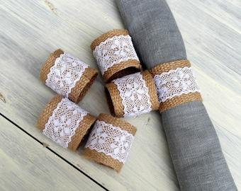 Burlap Napkin Rings with White Lace - set of six