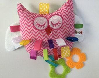 Crinkle Toy, Plush, Crinkle Ribbon, Rattle, Sensory, Owl, Pink, Baby Girl, Teething