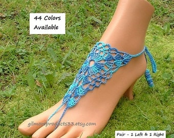 Turquoise Wedding Barefoot SANDALS Women's Foot Jewelry Blue Beach Wedding SHOES Bridal Foot Jewelry Crochet Barefoot Sandals Bridal Anklet