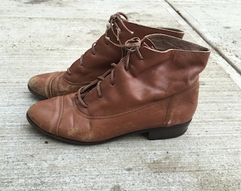 80s leather granny boots