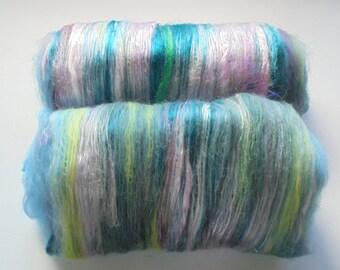 Carded Batt, MOONLIGHT, Art Batts, Merino Batts, Silk Batts, Bamboo Batts, Rose Fiber Art Batts for Spinning, Saori Art Batts, Spinning Batt