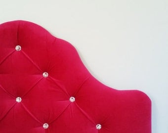 READY TO SHIP - Tufted upholstered headboard - wall mounted - queen/full size - pink velvet with crystal tufting