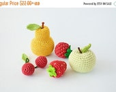 Crochet Baby Rattles Fruit, Set of 5 - apple, pear, raspberry, srawberry, cherry - ecofriendly crochet toys