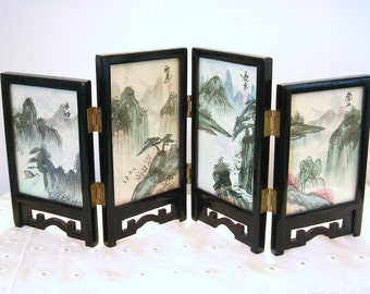 Vintage Asian Chinese Mini Folding Screen 4 Panel Hand Painted table top Asian Paintings with Original Box