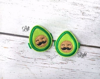Avocado hair clip Baby hair clip Guacamole hair clip soft clippie Pick one or two. Pick Left side or Right.