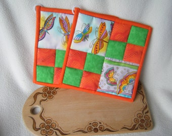 Colorful Orange and Green Quilted Potholders - Set of 2