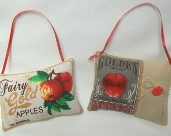 Apple Ornaments  Set Of Two Hanging Pillows