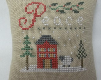 Peace Christmas Cross Stitch Tree Ornament House And Sheep Door Hanger Pillow