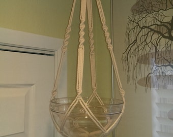 """Hand Crafted Macrame Plant Hanger- Lamb's Wool 35"""""""