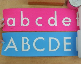 2 Strips of Vintage School Classroom Alphabet Strips for Walls  | Letters of the Alphabet | Wall Charts / Banners | Nursery / Playroom Decor