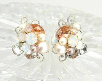 Rose Gold Bridal Studs- Art Deco Bridal Studs- Bridal Cluster Earrings- Rose Gold Wedding Earrings-Vintage Inspired Studs-Rose Gold Earrings