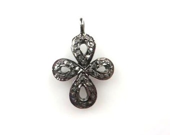 Pave Diamond Cross Charm Over 925 sterling Silver Pendant - 23mmx16mm
