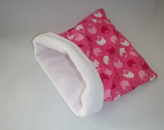 SALE Pink Hedgehog Flannel with White Fleece Snuggle Bag