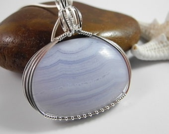 Blue Lace Agate Necklace in Sterling Silver, Healing Crystal, Healing Stone, Soft Blue Agate, Mystical Moon Designs, Blue Lace Agate Jewelry