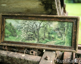 Art Print - Rectangular - Vintage - Antique - Framed - Country Scene - Nature Scene by RustiKate