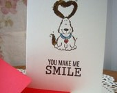 happy valentine's day card, dog valentine card, dog card,  you make me smile, can't help it,  fun valentine card