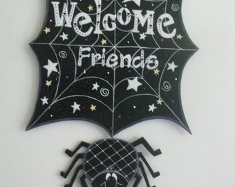 Spider Web, spider, welcome sign, halloween, handpainted, door hanger, wall hanger
