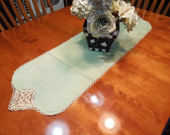 Vintage Green dresser scarf or table runner with an ivory lace crochet border design for housewares, home decor by MarlenesAttic