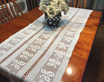 Vintage White Hand Crochet table runner for christmas, holiday, housewares, home decor, valentines by MarlenesAttic