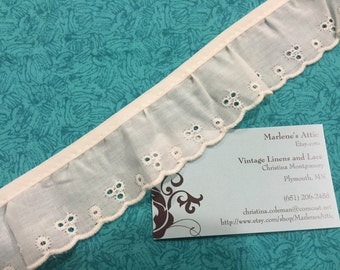 1 yard of 2 inch Ivory Ruffled Eyelet lace trim for sewing, costume, bridal, baby, housewares, couture by MarlenesAttic - Item 2V