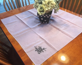Vintage Purple Kitchen Dining Luncheon Table Cloth with a cross stitch design for housewares, home decor, linens by MarlenesAttic