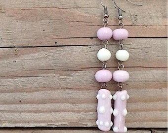 long pink lampwork glass earrings