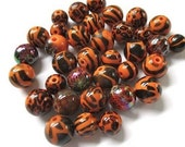 Orange and Black Beads, Halloween Beads, Animal Print Beads, Zebra Leopard Giraffe, 10mm 9mm Acrylic Beads - 35 Pieces