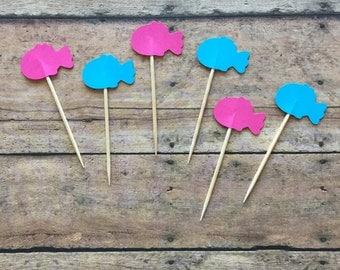 Gender Reveal Fish Food Picks- Blue or Pink- Reveal fish- blue fish- pink fish- reveal food pick- party supplies- mini cupcake topper